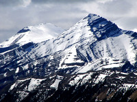 Outlaw Peak (left) and Mount Glasgow really are holding the snowpack this year!
