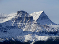 Mount Muir and Mount McPhail are among the most stunning peaks in the Highwood area. As with all mountains, the snow really enhances their strata lines.