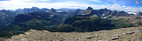 Here is a summit panorama looking west. The number of lakes visible on this trip was astounding.