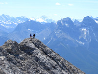 Nick Johnson and Dakota Mantyka pose on the false summit with distant glaciated Mount Sir Douglas and two of the Three Sisters to their right. This trip was Dakota's idea and I am glad he suggested it