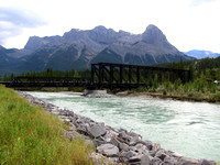 When my Dad and Lynne came out to visit we decided to explore some new areas of Canmore. I thought this train bridge was quite interesting. Ha Ling Peak is above it.