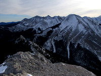This shows my ascent ridge on the left and Midnight Peak on the right. The pointed mountain in the center is Tiara Peak.