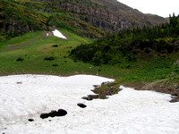 This patch of snow above Wall Lake had an interesting tunnel melted through it from a small stream.