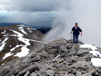 This is Rob ascending the final ridge to the top. The cloud rising behind him made for a surreal experience.
