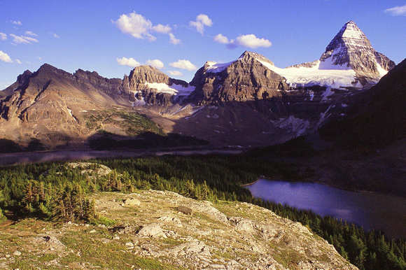 Mount Assiniboine is my favorite mountain, especially when seen from this angle above Sunburst Lake. The shorter peaks on the left are The Towers, Naiset Point, Terrapin Mountain, and Mount Magog.