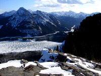 Mount Baldy and a frozen Barrier Lake complete this great view to the south.
