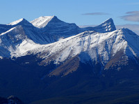 Mount Lougheed's three summits are probably the most eye-catching part of the panorama on Boundary. Below Lougheed is Mount Allan on the left and Mount Collembola's two summits on the right.