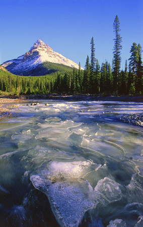 A partially frozen Silverhorn Creek flows below Mount Weed near the Icefields Parkway.
