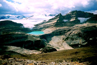 Little Crowfoot's  summit is the perfect platform for viewing the Wapta Icefield and Bow Glacier.